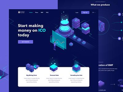 Dark ICO Concept mining cryptocurrency bitcoin icon dark logo web illustration flat vector ux ui design figma
