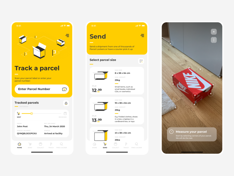Sending a parcel with AR ui uxui ux augmentedreality ar augmented mobile app package send post shipping