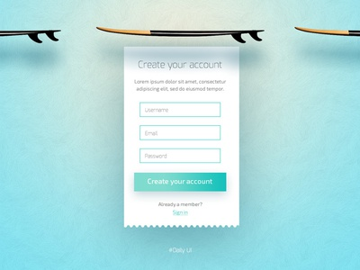 Daily UI #001 - Sign Up sign up ui daily ui modal form
