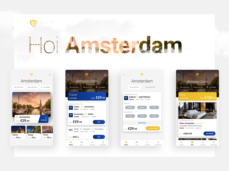 Travel Platform booking app flight booking flight app flight travel app explore amsterdam ui app travel