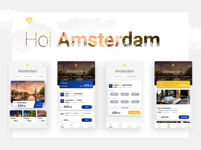 Travel Platform booking app flight booking flight app flight travel app explore amsterdam ui app travel