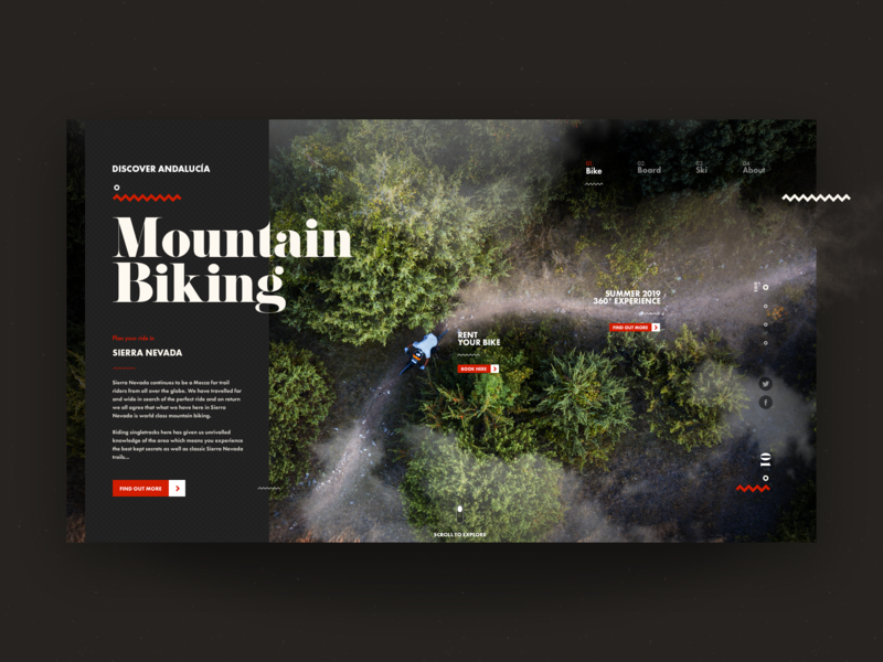 Discover Andalucía - Mountain Biking trail downhill bike mountains trip explore travel adventure uxdesign ui design web