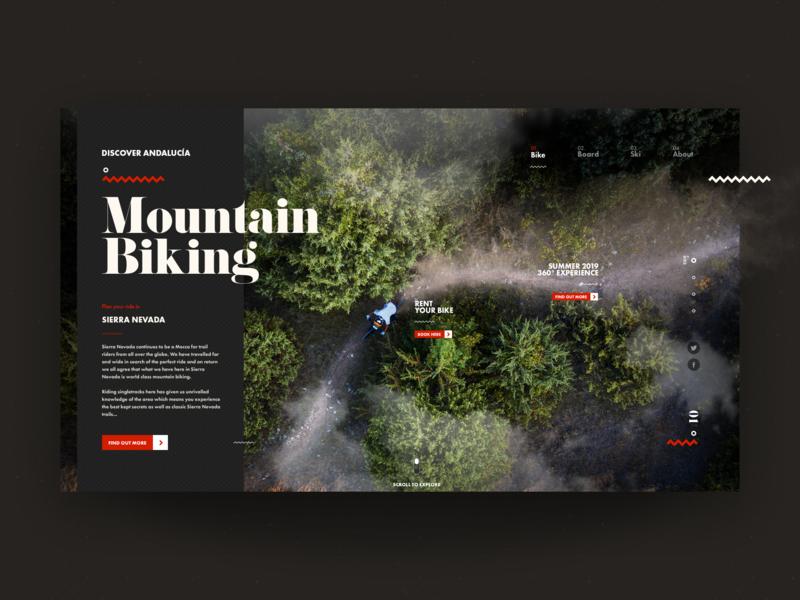 Discover Andalucía - Mountain Biking trail downhill bike mountains trip explore travel adventure uxdesign ui design web