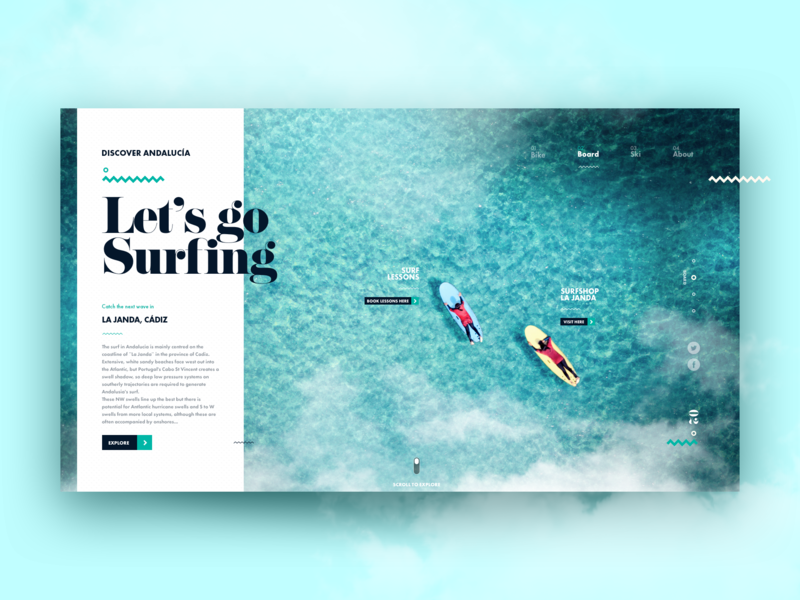 Discover Andalucía - Surfing trip travel board surf surfing explore ui ux design adventure