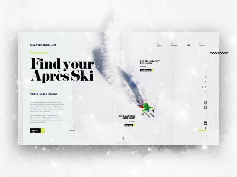 Discover Andalucía - Skiing adventure ski skiing uidesign design explore winter snow travel trip ux uxui ui winter sports