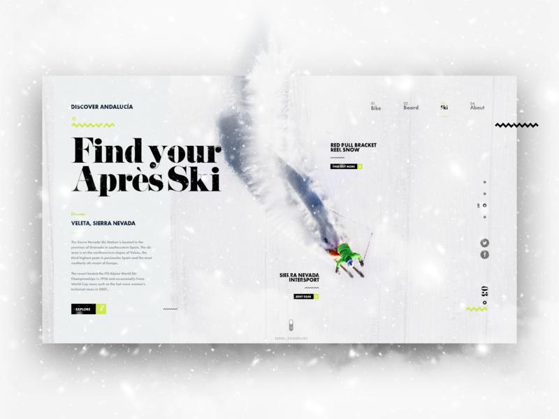 Discover Andalucía - Skiing adventure ski skiing uidesign design explore winter snow travel trip ux uxui ui winter sports
