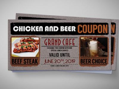 Beer Cardboard Coupon Card Design Template