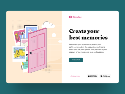 Platform for Collecting Your Memories timeline uiux web design graphic design product design photos desktop hbtat design story memories events typogaphy ui web illustration