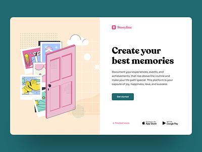 Platform for Collecting Your Memories timeline uiux web design graphic design product design photos desktop hbtat design story memories events typogaphy ui web illustration