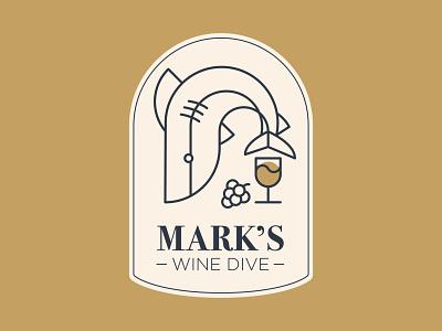 Mark's Wine Dive dive mark sea badge logo badges badge water grapes wine shark logotype logos logo mark logo design logo minimal hayhaily hay design branding