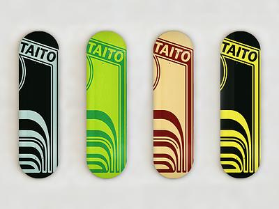 Taito Retro Skateboards 80s limited edition colors colorways gaming arcade skateboards skateboard retro taito