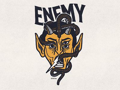 Enemy bandmerch merch artworkforsale designforsale artforsale devil skull illustration logo print illustrator brand apparel