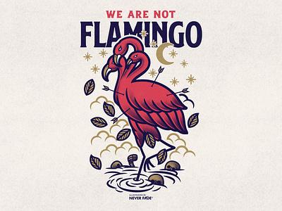 We Are Not Flamingo bandmerch merch americantraditionaltattoo americantraditional flamingo artworkforsale designforsale music typography design branding illustration skull print brand illustrator apparel