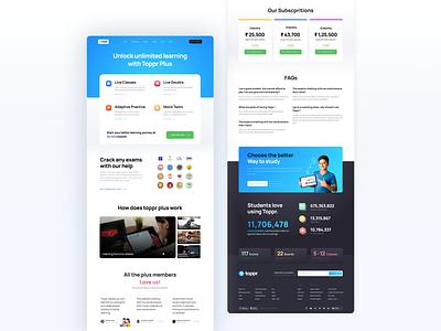 Toppr Plus ed tech learning app learning platform website landing design landingpage marketing website