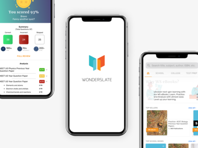 Wonderslate App ui  ux design app test preparation book store store education ed-tech