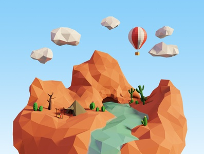 Camping in the Canyon 3d modelling 3d model tent hot air balloons hot air balloon water river desert cactus rock canyon puffy clouds camping nature art low-poly lowpolyart low poly blender 3d art 3d