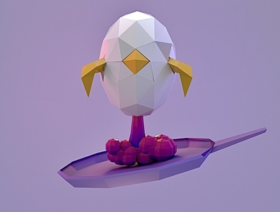 The chick ready to launch! low polygon low poly art low poly 3d modeling 3d art 3ddesign cinema 4d pan rocket launch rocket chicken chick egg graphic design illustration arnold render ui arnold 3d