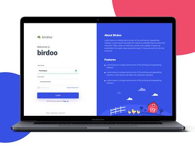 Birdoo Login illustration dashboard ui dashboard login uidesign ui login design login screen login