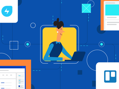Trello-Freshservice power up (Blog Cover) ui integration human integration merger trello flat illustrations branding ui design vector blog graphic information technology photoshop illustrator illustration flat illustration chennai blog design blog cover