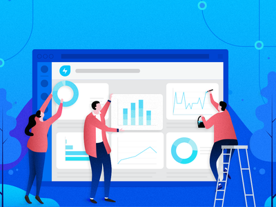 New look for Analytics within Freshservice - Blog Cover blue colour flat illustrations branding ui dashboard flat design analytics design dashboard design analytics dashboard design vector blog graphic information technology photoshop illustrator illustration flat illustration chennai blog design blog cover