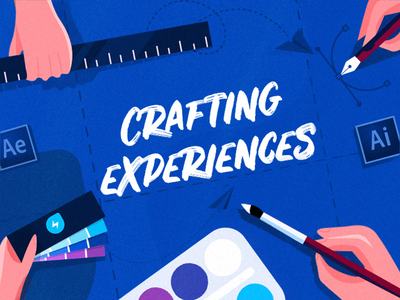 Crafting Experiences - Cover for Design Group ruler designing colour palette designers club design group freshworks blue colour flat illustrations branding design blog graphic vector information technology photoshop illustrator illustration flat illustration chennai blog design blog cover