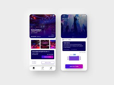 Club table booking app app design ui ux