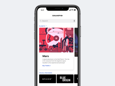 Galactic - Space Travel App design ui planets search card product concept app travel space