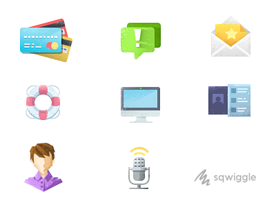 Sqwiggle Help Icons sqwiggle icons vintage flat help credit card notification mac invite microphone