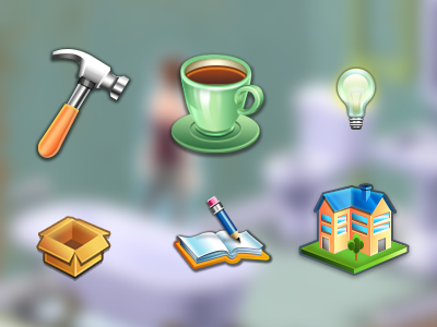 Menu Icons icons coffee hammer light bulb box house book photoshop