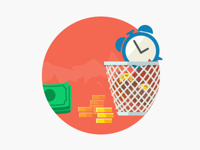Sqwiggle Icons sqwiggle flat coin trashcan clock illustration money