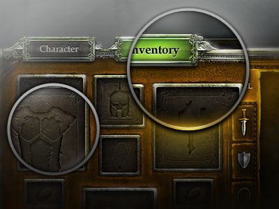 Item and Equipment Inventory interface medieval icons classical popup photoshop game design game interface ux