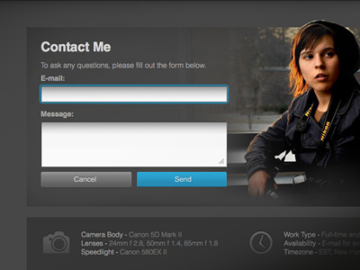 Contact Page ui ux interface web design clean photoshop