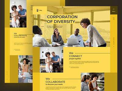 Corporation of Diversity Landing diversity branding minimal above the fold ui yellow mono color web design flat wordpress theme wordpress demo landing corporation wordpress demo
