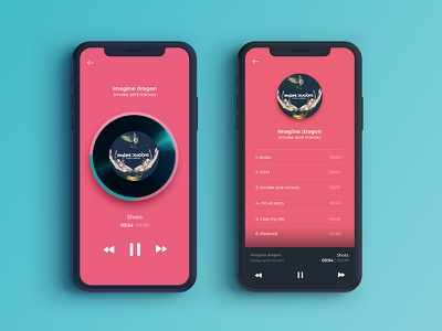 Audio Player app pink music vibrant player app ui design audio player