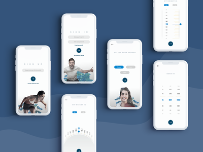 physical fitness app - registration screens ui design app uiux mobile app design born in weight height registration fitness app