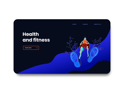 health and fitness web screen ui web ui design uiux dark theme illustration fitness health health and fitness