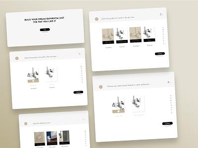build my bathroom uiux design web  design ui design steps selections options customize bathroom build