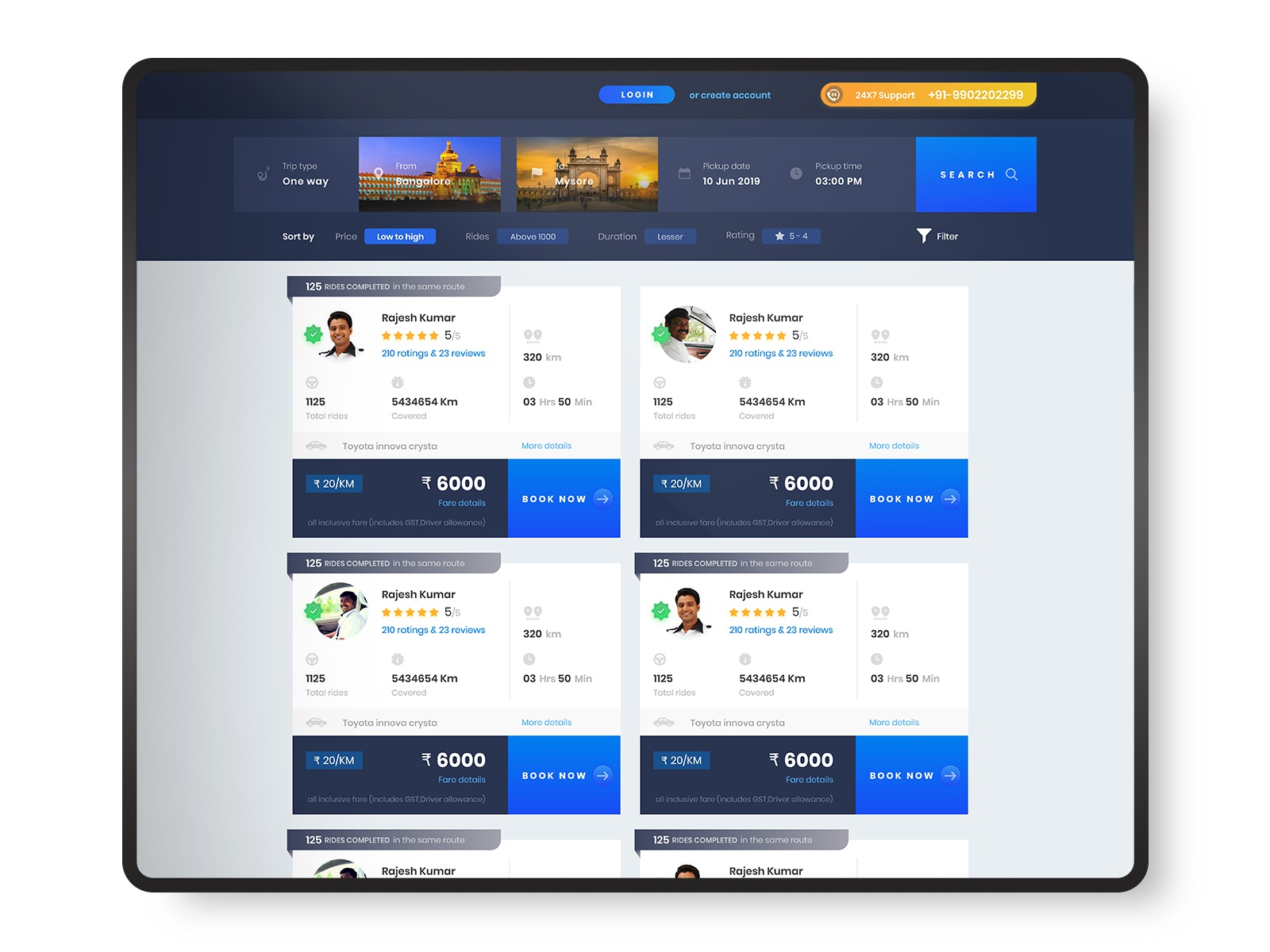Cab booking website by Sudheesh | Design Inspiration