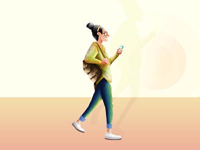 walking with phone wacom intuos photoshop illustration art walking with phone colours phone mobile walk illustration
