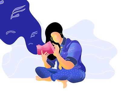Reading Illustration minimalistic minimal graphics reading blue drawing art illustration