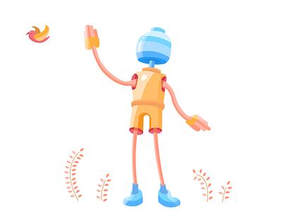 robot illustration design ui design illustrations illustration robot light colors simple minimalistic minimalist art robot illustraion
