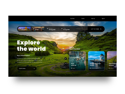 Explore the world best places web home screen minimal minimalist book event event book ticket booking countires world around the world travelling traveller travel