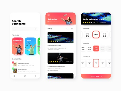 Sports booking app mobile app design ui design invision invision studio invisionstudio invisionapp booking app football badminiton game events sports booking event booking app game booking app sports booking app