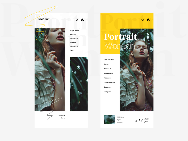 Portrait Woman ui fashion app online shop branding mobile app design ui
