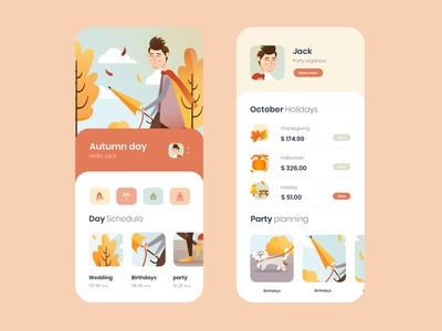 mobile app party planing halloween holidays party autumn illustration mobile app photoshop cc ux ui
