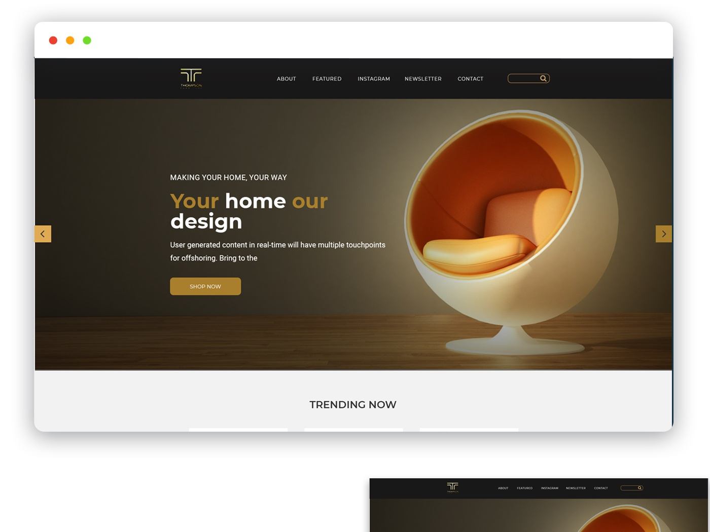 Furniture websites and web ui ux design work