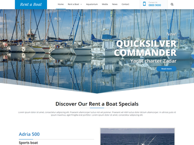 Landing Page Rent a Boat