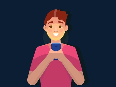 Man Using Smartphones