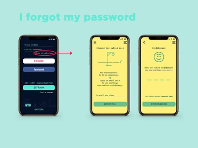 Password recovery, app screen procedure