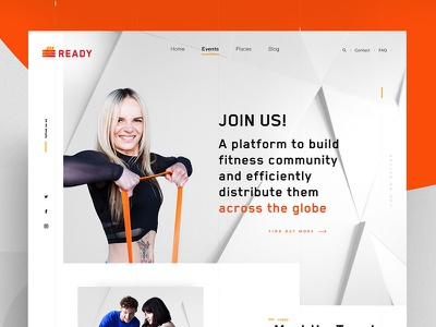 Brand Site for fitness community athlete photography fitness sport ui design web
